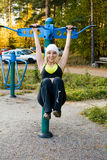 Fitness Time At Outdoors. Young nice blond woman during fitness outdoor royalty free stock photography