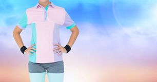 Fitness Torso against a blue and pink background Stock Images