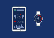 Fitness tracker app graphic user interface for smartwatch and smartphone. Royalty Free Stock Photography