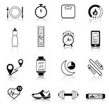 Fitness Tracker Black Icons. For modern control of body weight calories and heart rate vector illustration Royalty Free Stock Photo