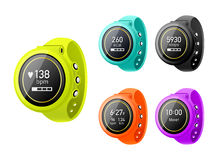 Fitness tracker. Colorful fitness tracker with the different metrics Stock Photos