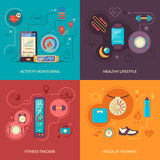 Fitness Tracker 2x2 Design Concept. Set with healthy lifestyle regular physical training and activity monitoring icons vector illustration Royalty Free Stock Image