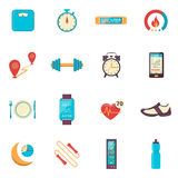 Fitness Tracker Flat Color Icons Royalty Free Stock Photography