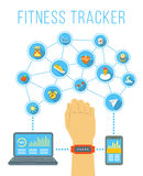 Fitness tracker flat vector infographic illustration Stock Images