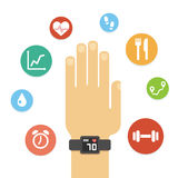 Fitness tracker hand Royalty Free Stock Images
