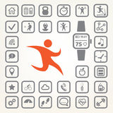 Fitness tracker icons set Stock Photos