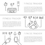 Fitness tracker 08. Fitness tracker with pedometer function. Fitness tracker with heart rate monitor. Fitness tracker with alarm function. Sync your fitness Stock Photo