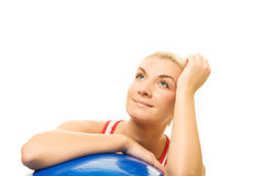 Fitness trainer with a ball Stock Photography