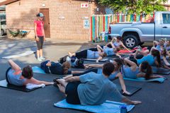 Fitness Trainer Class Outdoors Stock Photography