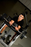 Fitness Trainer Doing Heavy Barbell Exercise Royalty Free Stock Photos