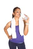 fitness trainer drinking bottled water Royalty Free Stock Photography