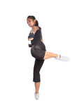 Fitness trainer in fighting pose Royalty Free Stock Image