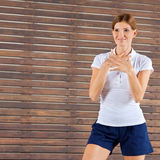 Fitness trainer giving instructions stock photos