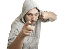 Fitness trainer man pointing fingers at you Royalty Free Stock Photography