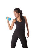 Fitness trainer pumping dumbell. Female fitness trainer pumping dumbell , working on her arm Stock Image