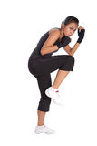 Fitness trainer in self defense pose Royalty Free Stock Image
