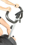 Fitness Training for bicycle simulator. Royalty Free Stock Photo