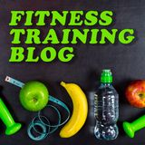 Fitness training blog concept. Dumbbell, massage ball, apples, banana, water bottle and measuring tape on black background. Top view Royalty Free Stock Image
