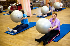 Fitness training for elderly and disabled Stock Image