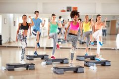 Fitness training in group Royalty Free Stock Images