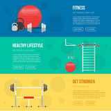 Fitness training and gym club banners Stock Photos