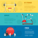 Fitness training and gym club banners set. Gym and Fitness center flyers. Vector Sport background. Healthy lifestyle concept. Royalty Free Stock Images