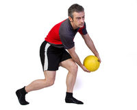 Fitness training with a gymball Stock Photos