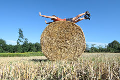 Fitness training on a Hay bale Royalty Free Stock Images