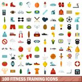 100 fitness training icons set, flat style. 100 fitness training icons set in flat style for any design vector illustration Royalty Free Illustration