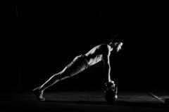 Fitness training. Man doing push ups exercise. Stock Photo