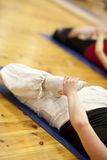 Fitness training on mat - close up Royalty Free Stock Image