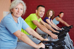 Fitness training with spinning Royalty Free Stock Photos