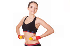 Fitness training young woman Royalty Free Stock Image