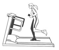 Fitness on treadmill. Black and white illustration. A young blonde woman is running on a treadmill Stock Photos