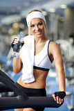 Fitness on a treadmill Stock Images