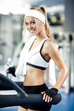 Fitness on a treadmill Stock Image
