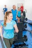 Fitness treadmill woman enjoy group class Royalty Free Stock Photo