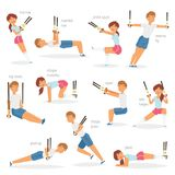 Fitness trx exercises vector sportsman character woman or man exercising in gym for workout or sport training Royalty Free Stock Image