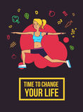 Fitness typographic poster. Time to change your life. Slim girl doing exercises. Motivational and inspirational illustration. Flat Stock Photo