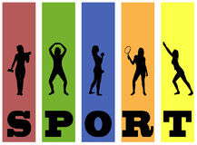 Fitness vector silhouettes Stock Image