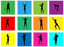 Fitness silhouettes on abstract background Stock Photo