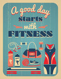 Fitness vintage poster. Stock Image
