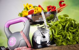 Fitness vitamin concept, fresh fruit and vegetable Royalty Free Stock Photo