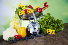 Fitness vitamin concept, fresh fruit and vegetable Stock Photo