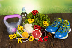 Fitness vitamin concept, fresh fruit and vegetable Stock Photos
