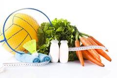 Fitness voedsel en sportactiviteitenconcept Royalty-vrije Stock Afbeeldingen