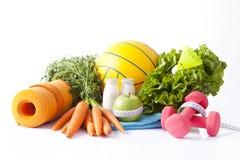 Fitness voedsel en sportactiviteitenconcept Royalty-vrije Stock Foto's