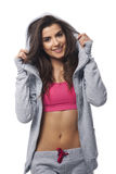 Fitness vrouw die sportblouse dragen Royalty-vrije Stock Afbeeldingen