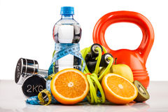 Fitness water and healthy food royalty free stock photography