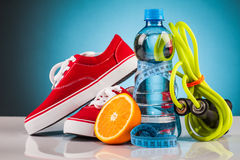 Fitness water and healthy food Stock Images